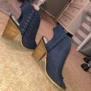 Open Toed Blue Heel Bootie